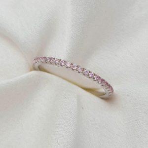 טבעת כסף 925 PINK משובצת אבני CZ ורוד RZ415