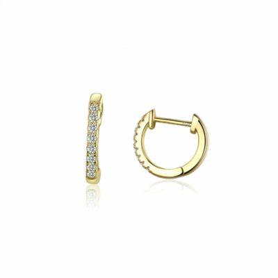 עגילי כסף 925 בציפוי זהב עדינים עם אבני זרקוניה שקופים צפופים
