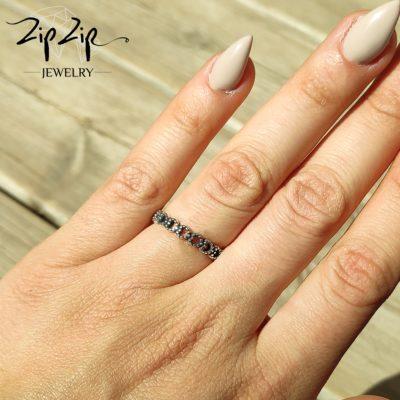 טבעת כסף 925 משלובת לבבות אווריריים RZ404
