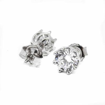 עגילים כסף 925 פרח בשילוב אבני זרקון EZ212