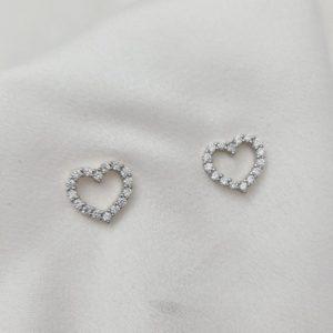 """עגילים צמודים כסף 925 """"ג'ן"""" לב אוורירי"""