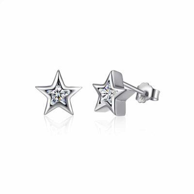 """עגילים צמודים כסף 925 """"טאי"""" צורת כוכב משובץ זרקון CZ"""