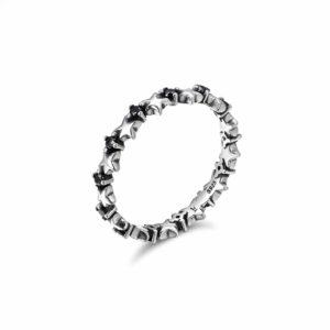 טבעת כסף 925  בשילוב כוכבים מלאים שחור RZ413