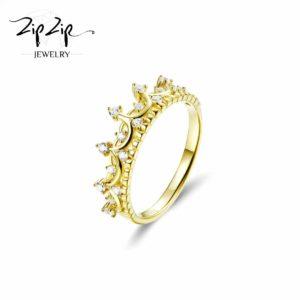 """טבעת כסף 925 בציפוי זהב """"ג'ייל"""" משולבת כתר וזרקונים RZ422"""