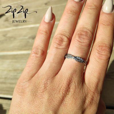 טבעת כסף 925 משולבת פיתול משובץ זרקוניה שקופה RZ426