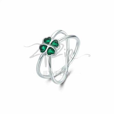 """טבעת כסף 925 """"גרין"""" איקס בשילוב אבן CZ ירוק בצורת תלתן"""