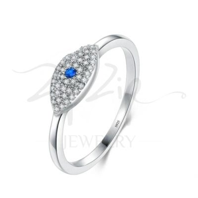 טבעת כסף 925 בשילוב עין משובצת זרקונים בינוני וזרקון כחול