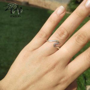"""טבעת כסף 925 """"גל"""""""