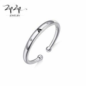 טבעת כסף 925 גמישה בשיבוץ אות A וזרקונים