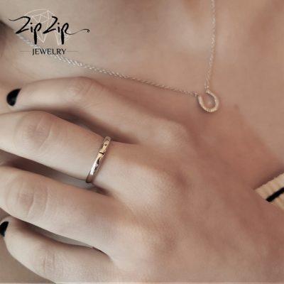 טבעת כסף 925 גמישה בשיבוץ אות L וזרקונים RZ4110