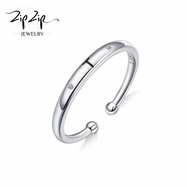 טבעת כסף 925 גמישה בשיבוץ אות T וזרקונים RZ4117