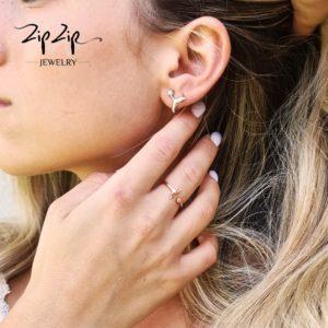 """טבעת כסף 925 בציפוי זהב אדום גמישה בשילוב סנפיר ליוויתן """"ספיר"""""""