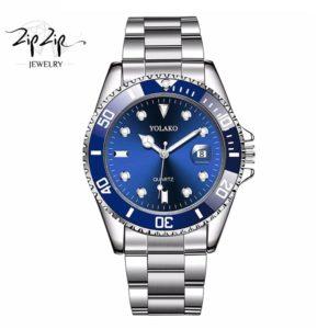 """שעון חוליות """"מוריסון"""" סטיינלס סטיל כחול"""
