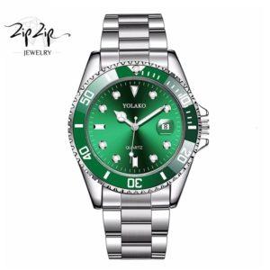 """שעון חוליות """"מוריסון"""" סטיינלס סטיל ירוק"""