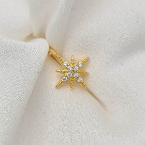 """עגיל ללא חור כסף 925 בציפוי זהב """"איב"""" קליפס כוכב"""