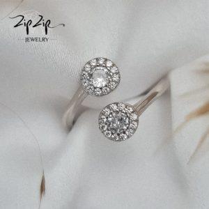 """טבעת כסף 925 """"אלה"""" גמישה זרקון מעוטר זרקוניה שקופה"""