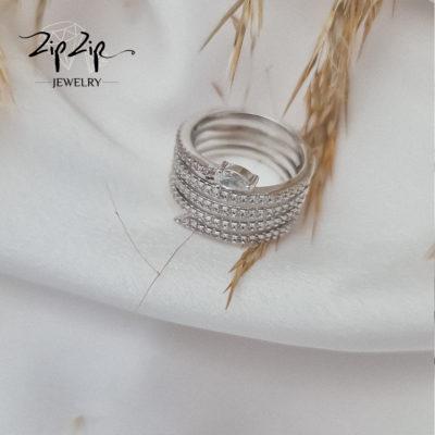 טבעת ציפוי כסף נחש משולב זרקוניה וורודה ושקופה