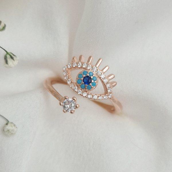 """טבעת כסף 925 בציפוי רוז גולד """"נילי"""" גמישה עין"""