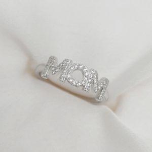 טבעת כסף 925 MOM משובצת