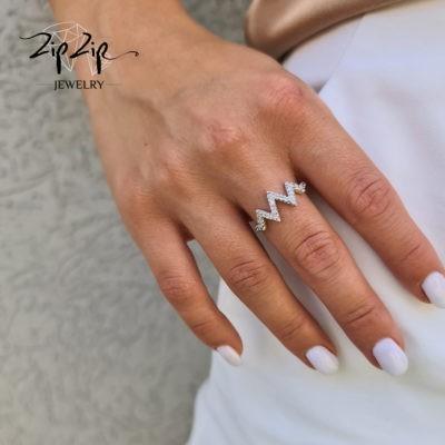 """טבעת כסף 925 """"פריז"""" זיגזג"""