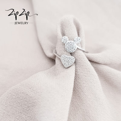 """טבעת כסף 925 """"טדי לאב"""" גמישה"""