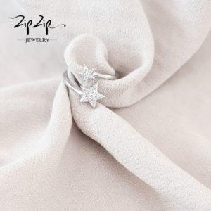 """טבעת כסף 925 """"סתיו"""" גמישה כוכבים"""