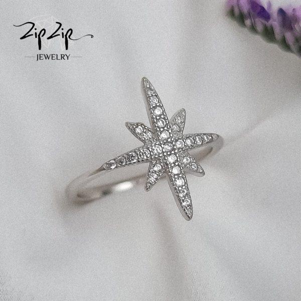 """טבעת כסף 925 """"ספרק"""" כוכב גדול עדין"""