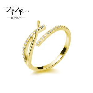 """טבעת כסף 925 בציפוי זהב """"סרי לנקה"""" איקס משובץ זירקונים"""