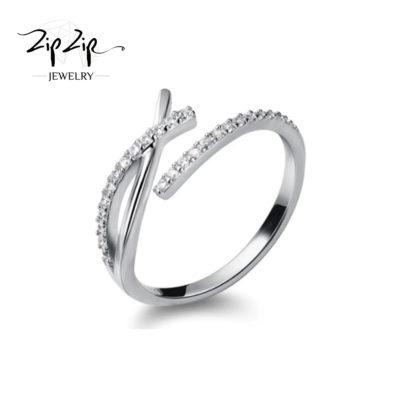 """טבעת כסף 925 """"סרי לנקה"""" איקס משובץ זירקונים"""