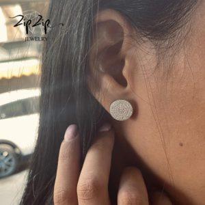 """עגילים צמודים כסף 925 """"ג'ולייט"""" משובץ כולו"""