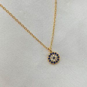 """שרשרת כסף 925 """"לני"""" בשילוב תליון עין קטן משובץ זרקוניה כחול ושקוף"""