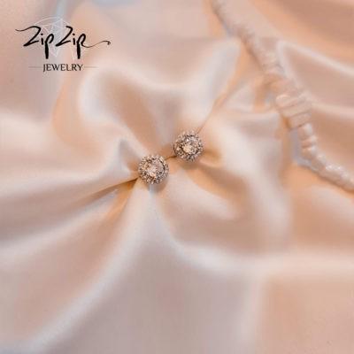 """עגילים צמודים כסף 925 """"שנדי"""" קטנים בשילוב קריסטל וזרקונים"""