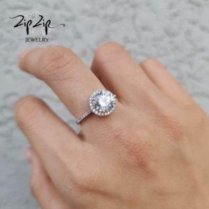 """טבעת כסף 925 """"מורנינג לאב"""" קריסטל ושיבוץ זרקונים"""