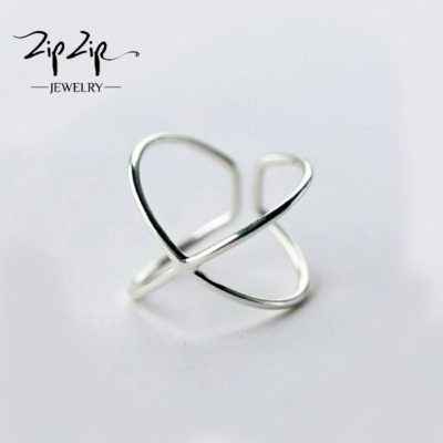 טבעת כסף 925 גמישה איקס