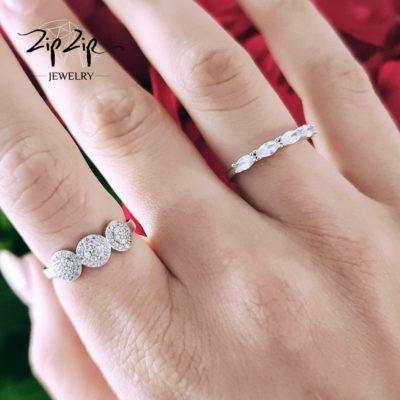 """טבעת כסף 925 """"קייסי"""" משובצת וקריסטל טיפה"""