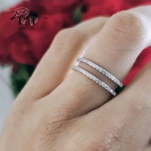 """טבעת כסף 925 """"קלי"""" כפולה שני פסים משובצים"""