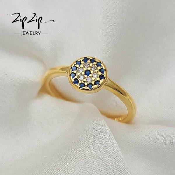 """טבעת כסף 925 בציפוי זהב """"לני"""" גמישה עין כחולה"""