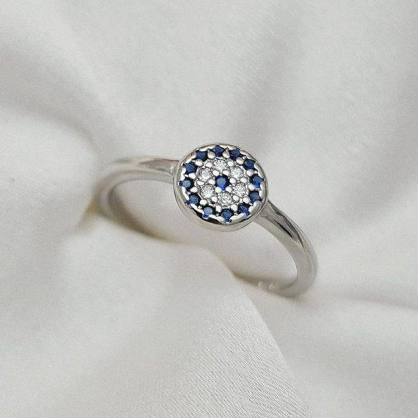 """טבעת כסף 925 """"לני"""" גמישה עין כחולה"""