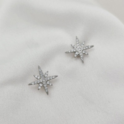 """עגילים צמודים כסף 925 """"ספרק"""" כוכב"""