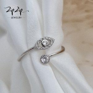 טבעת כסף 925 גמישה עין משובצת וזרקון