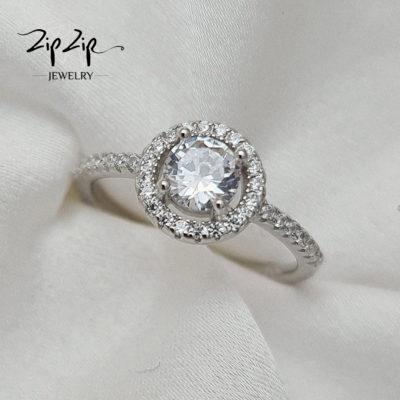 """טבעת כסף 925 """"שנדי"""" עדינה קריסטל ושיבוץ זרקונים"""