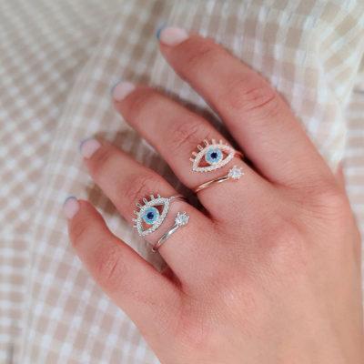 """טבעת כסף 925 """"נילי"""" גמישה עין"""