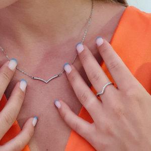 טבעת כסף 925 'סקרלט' כתר משובץ