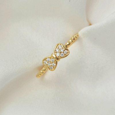 """טבעת כסף 925 בציפוי זהב """"נוי"""" גמישה פפיון"""