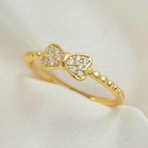טבעת כסף 925 ציפוי זהב פפיון