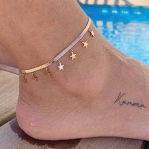 """צמיד רגל סטיינלס סטייל כסף """"הילה"""" חלקה כוכבים"""