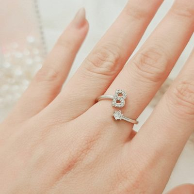 טבעת כסף 925 גמישה בשיבוץ אות B וזרקון