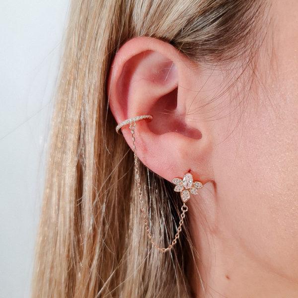 עגיל כסף 925 ציפוי רוז גולד פרח משולב קליפס מחובר בשרשרת