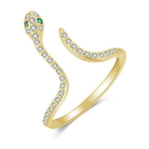 """טבעת כסף 925 בציפוי זהב גמישה """"דליילה"""" נחש משובצת"""